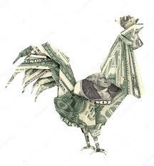 new year dollar bill dollar rooster money origami symbol of new year stock