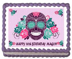 sugar skull cake topper online shop sugar skull day of the dead edible cake topper wafer