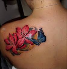 beautiful flowers and blue butterfly tattoo on left back shoulder