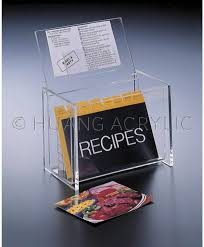 huang acrylic lucite 6 x 4 lid display recipe box w cards