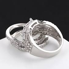 Promise Ring Engagement Ring And Wedding Ring Set by Fendina Women 3 Pcs Vintage 18k White Gold Plated Wedding