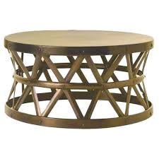 gold drum coffee table horizon hammered brass antique drum cross coffee table free