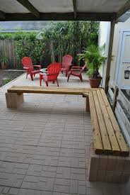 Decorative Cinder Blocks Home Depot Cinder Block Bench And Tables I Built The Bench Using 12 Blocks