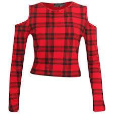 New Womens Red Tartan Print Tie Up Shrug Crop Top Tunic Swing Cami