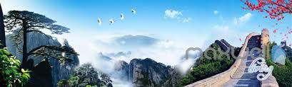 Living Room Wallpaper Scenery 3d Huangshan Mountain Pine The Great Wall Entire Living Room