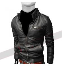 mens leather moto jacket popular black pu leather jacket with straight zipper