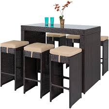 amazon com best choice products 7pc rattan wicker barstool dining