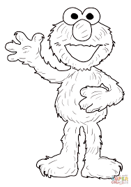 elmo waving coloring free printable coloring pages