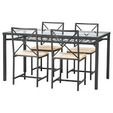Rod Iron Dining Room Set Wonderful Glass Dining Table With Four Chrome Metal Base Be