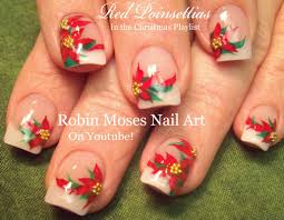 easy christmas nail art design xmas poinsettia flower nails