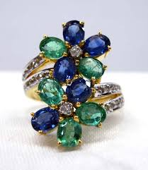 sapphire emerald rings images Flower sapphire emerald ring jpg