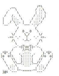 cornici ascii easter bunnies and chocolate rabbits in ascii text