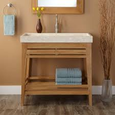 bathroom brown wooden open shelf vanity with rectangle white sink