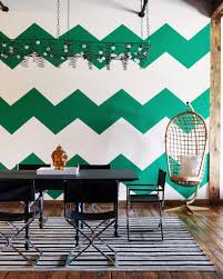 chevron wall in green interiors by color