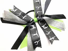 ribbon for hair that says gymnastics lime green black and silver gymnastic hair bows silver black