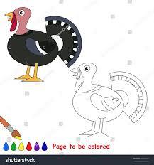 turkey colored coloring book preschool stock vector 609226379