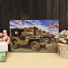 vintage military jeep 20x30cm army world war ii american jeep sign metal wall decor