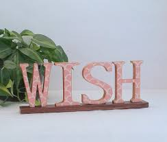 wish sign wooden word sign annie blue home decor