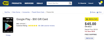 best buy has 50 and 25 play gift cards on sale for 10