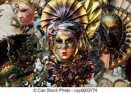carnevale masks a display of carnevale masks in venice italy stock photo