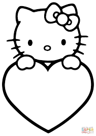 valentine u0027s day hello kitty coloring page free printable