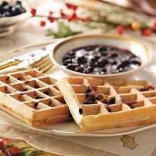thanksgiving waffle blueberry waffles with blueberry sauce recipe taste of home