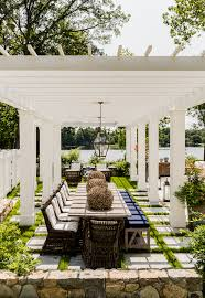 Vacation Home Designs Lake House Vacation House White Pergola Backyard Design Ideas