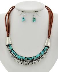 turquoise gem necklace images Silver gold turquoise stone brown suede necklace jpg