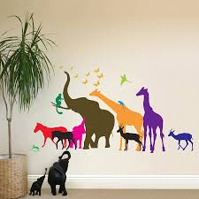 wall stickers forest animals color the walls of your house photos jungle animals wall sticker mural three
