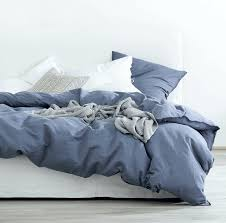 washed cotton chambray duvet cover solid color casual modern style