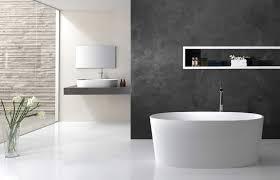 concrete tile backsplash minimalist bathroom toiletries small leather padded stool beside
