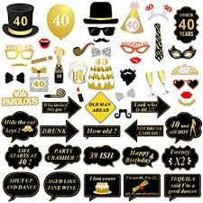 40th birthday decorations konsait 40th birthday photo booth props black and gold 40th