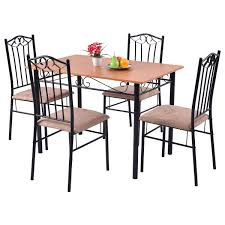 Cushioned Dining Chairs 5 Pcs Dining Set Wooden Table And 4 Cushioned Chairs Kitchen