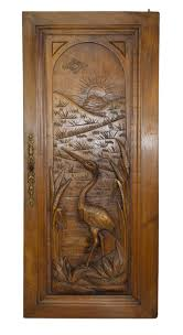 carved cabinet door panels architectural wood salvage door french antique carved heron bird