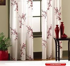 Asian Curtains Asian Cherry Blossom Floral Window Curtain Panel Pair Drapes