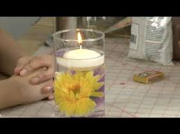 how to make a floating candle centerpiece with a flower inside