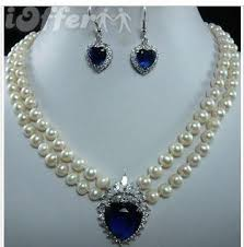 zircon necklace set images Natural freshwater pearl pink blue zircon jewelry set for sale jpg