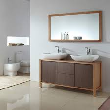 Wooden Bathroom Mirror Outstanding Design Ideas Using Silver Single Faucets And
