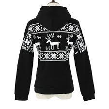 korean fashion women hooded sweatshirt deer print fleece long