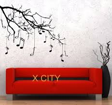 compare prices on wall tree stencil online shopping buy low price music tree branch notes cool creative black wall art decal sticker removable vinyl transfer stencil mural