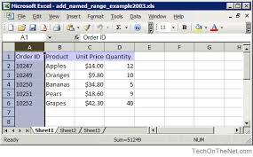 ms excel 2003 add a named range