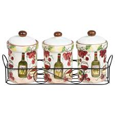purple kitchen canister sets home essentials grape kitchen canister set