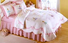 Ballet Comforter Set Pink Ribbons Ballerina Girls Bedding Full Queen 3pc Quilt Set