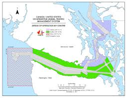 Seattle Traffic Map by Canada United States Co Operative Vessel Traffic System