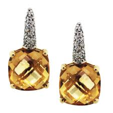 citrine earrings 18k yellow gold citrine diamond drop earrings