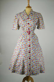 1940s Vintage Dress Multi Coloured Floral Design Red Buttons