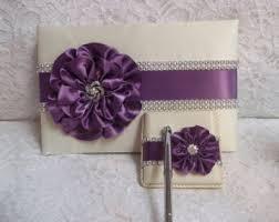 purple wedding guest book purple guestbook pen etsy