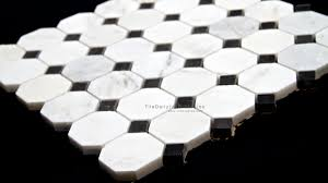 octagon marble mosaic white carrara and nero black u2013 tiledaily