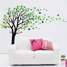 dushang black trunk large tree flying birds green leaf wall dushang black trunk large tree flying birds green leaf wall sticker art decals mural decor decal stickers for living room bedroom amazon ca home kitchen