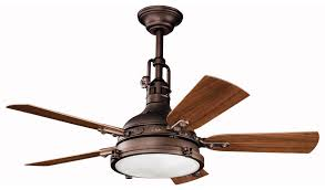 grotesque nautical ceiling fan light with copper and wooden